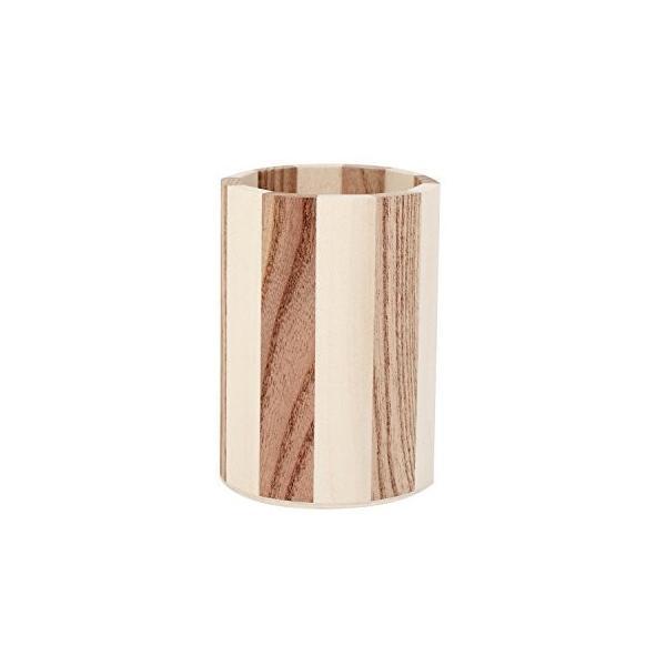 (ATULLE) ツートンカラーの木製ペン立て 天然木 ナチュラル ペンスタンド 筆立て (ストライプ)