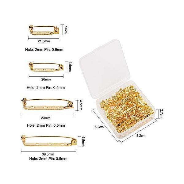 SZM ブローチピン ブローチ金具 とめピン 金属パーツ アクセサリーパーツ 手芸 DIY ゴールド (25mm, 50枚セット)