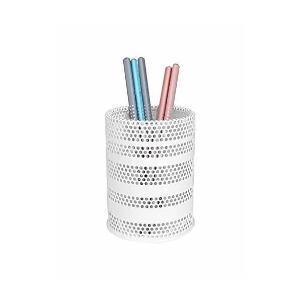 Produco ペン立て 鉛筆立て ペンスタンド 事務 オフィス 机上収納 用品ケース, ブラシスタンド (中) (ホワイト) (