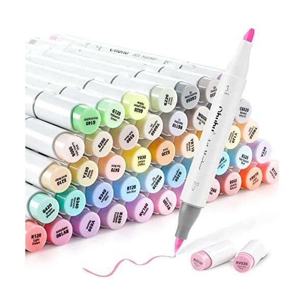 Ohuhu イラストマーカー 薄色 48色 パステルカラー 筆・太字 浅い色 筆先 ふでタイプ ブレンダーペン付き 手帳