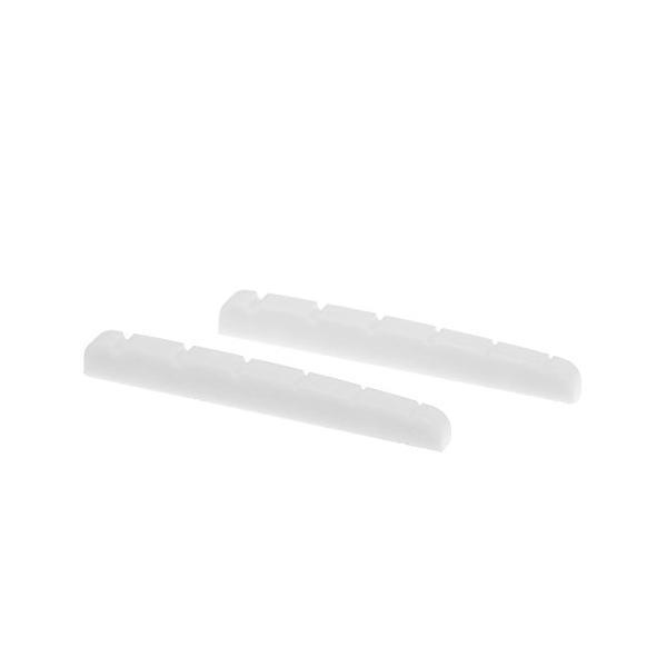 Musiclily Pro尿素樹脂プラスチック製 43mm 弦溝加工済みナット 6弦ストラトキャスター用 フラットボトム、白(2個