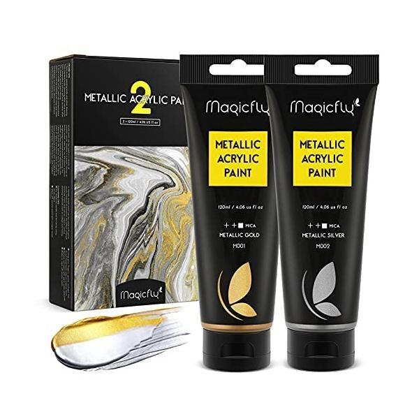 Magicfly アクリル絵の具 メタリック色 アクリル顔料 大容量 ゴールド/シルバー 2色セット 120ml