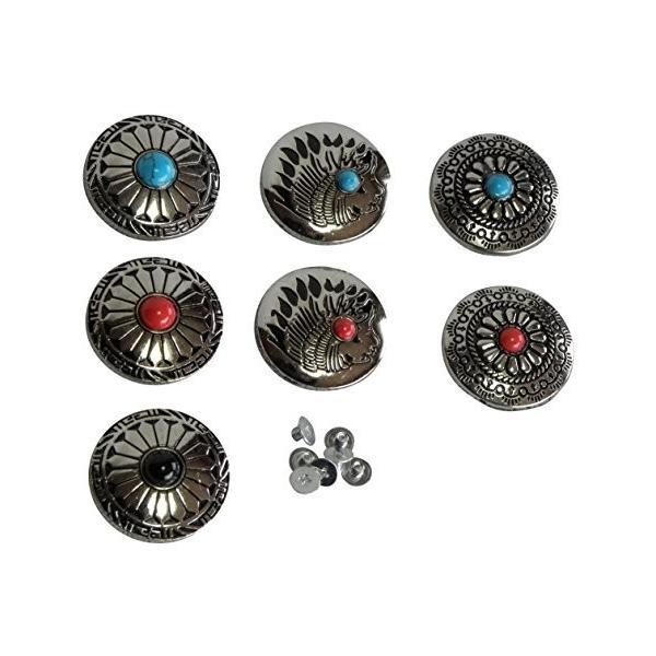 コンチョ ターコイズ 飾りボタン レザークラフト (7個セット)