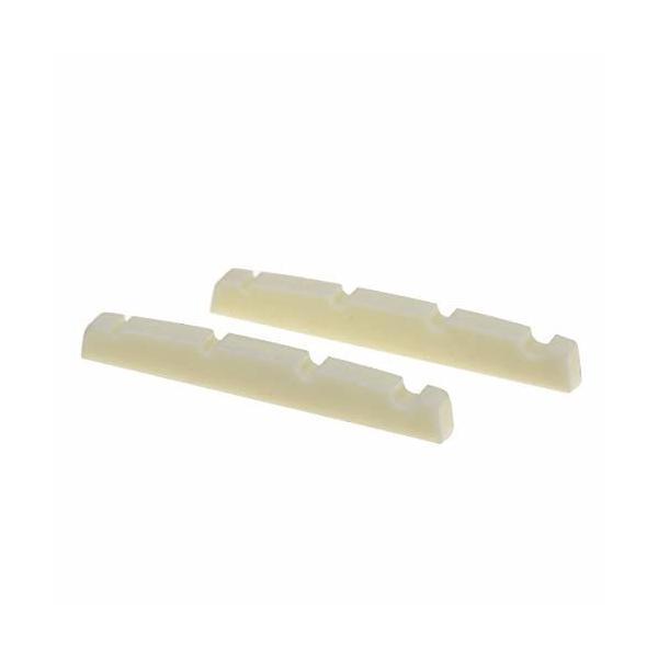 Musiclily Pro尿素樹脂プラスチック製 42.3mm 弦溝加工済みナット 4弦プレシジョンベース用 フラットボトム、アイ