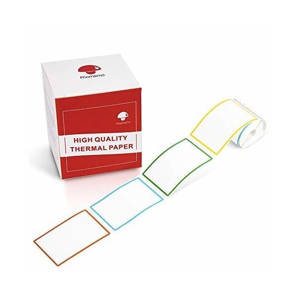 Phomemo M110対応 純正 4色 ラベルシール 感熱ロール紙 シール 50mm*80mm 矩形タイプ 100枚入り/巻 感熱ラベルプリン