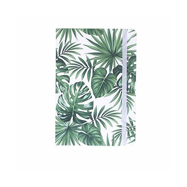 A5ゴムバンドハードカバーエグゼクティブノート罫線入りストラップノート, Tropical Plants 1,Combo