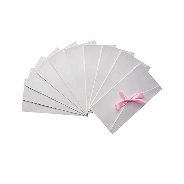 封筒 10枚セットかわいい リポン付き ふうとうメッセージカード/案内状/挨拶状/ポストカード/招待状 郵便番号