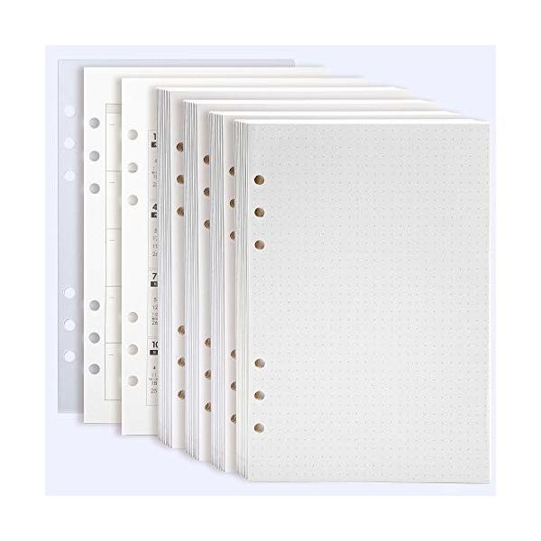 Felicit? システム手帳 リフィル A5サイズ 6穴ルーズリーフ用 書き込み式カレンダー16枚+ドット紙160枚+リフター