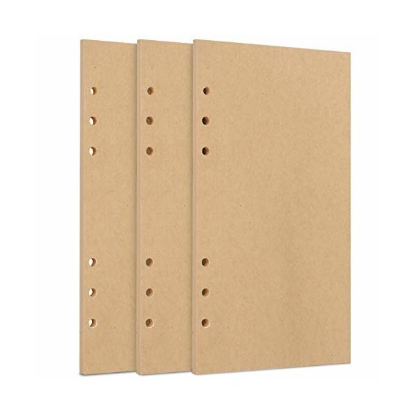WWW 詰め替え用紙 ルーズリーフ紙 文庫本サイズ 厚型 A6 バインダー 標準6穴 クラフト紙 ノートブックインサー