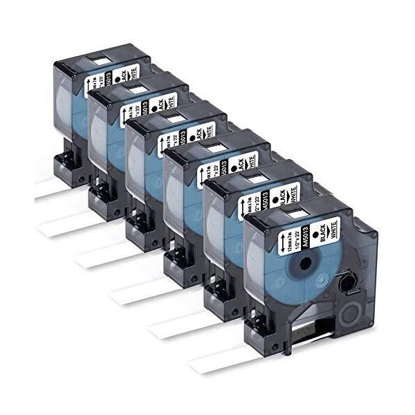 Yukia 互換性のあるラベルテープの交換 DYMO D1 45013(S0720530)ラベルテープ12mm標準テープ黒地に白1/2インチx 23 for