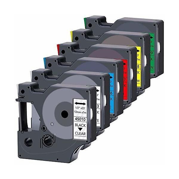 Yukia 互換性のあるラベルテープの交換 DYMO D1ラベルテープ(45010 45013 45016 45017 45018 45019)12mmカラーコンボセッ