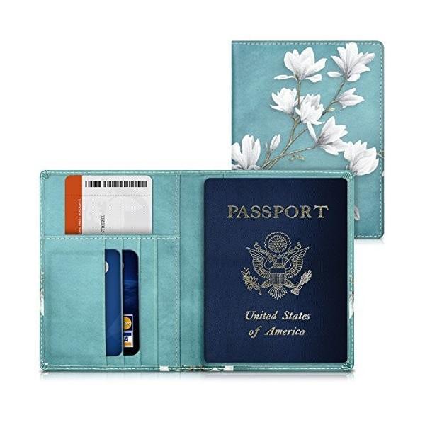 kwmobile パスポート ケース カードポケット 付き - PUレザー 旅券カバー パスポートカバー カードケース トープ/