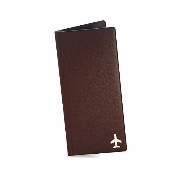 デザイナーズ FENICE 旅行用長財布 パスポートケース SIMカード PUレザー 97.5mm×210mm (ブラウン)