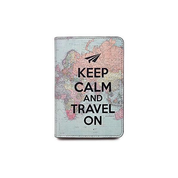 Handmade Curious ーズ ノベルティレザーパスポートカバー - Keep Calm and Travel On界地図