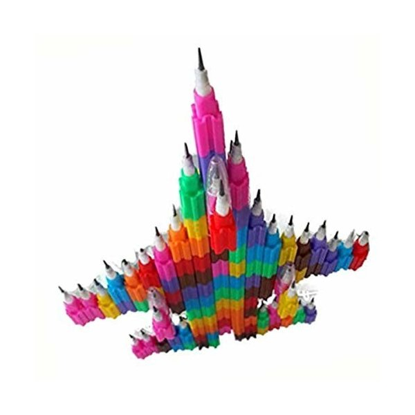 UTST ロケット 鉛筆 HB 文房具 おもしろ ブロック えんぴつ キャップ 付き 50本 セット 贈物 景品 誕生日 プ