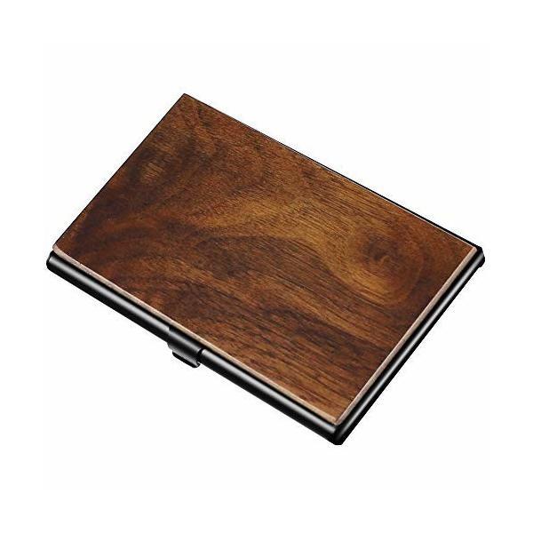 名刺入れ・カードケース 木製 くるみの木 ビジネス 重厚感のあるステンレス素材と銘木をあわせた 名刺・カ