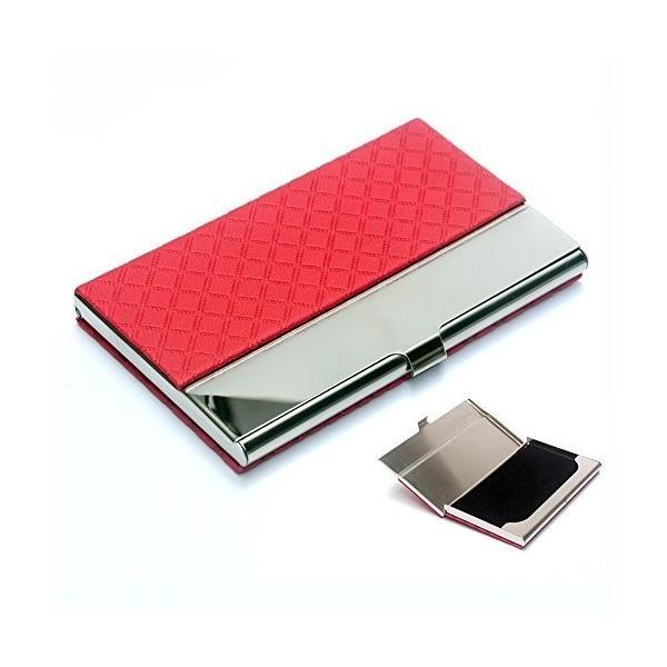 名刺入れ カードケース ビジネス男女兼用5色 角が折れない (赤)