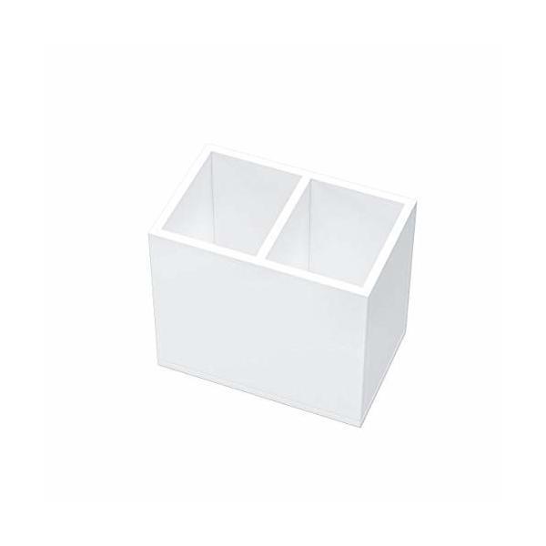 FEMELI ペン立て 2格 仕切りがある アクリル製 ペンスタンド 卓上収納 おしゃれ 小物入れ(白)