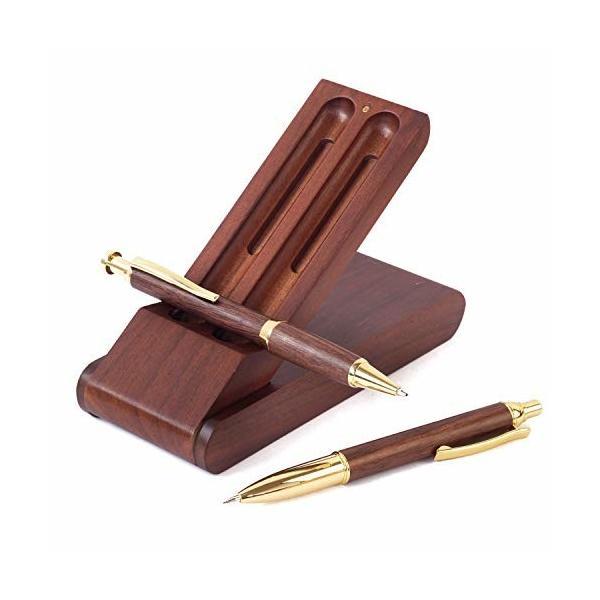 ボールペン セット 木製 シャーペン 立つ ペンケース 3点セット 高級 天然木 プレゼント ギフトボックス付 (ブ