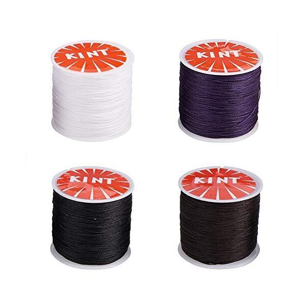 PH PandaHall 4巻き 約100ヤード/巻き ポリエステル製 蝋引き紐 直径0.5mm ロウ引き糸 ワックスコード 手縫い 糸 ア