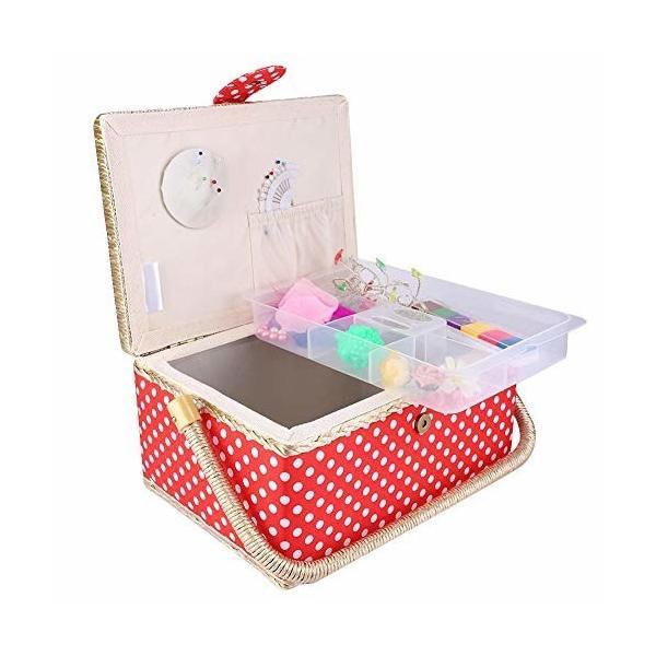 裁縫箱 ソーイングボックス 二層設計 手編み ミシン 糸針 はさみボックス 多用途 持ち運びやすい チェリーレ