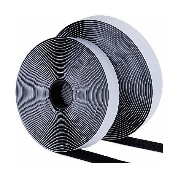 uyoyous ファスナーテープ 幅2.5CM×長25M 両面テープ 強粘着裏糊付 業務用 家庭用 工業用 DIY用 2点セット