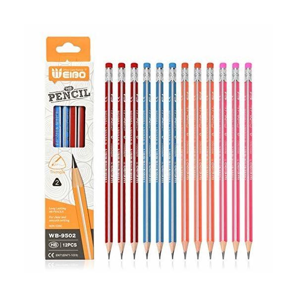 消しゴム付きHB鉛筆学校用と子供用の鉛筆12本セット (オレンジ)