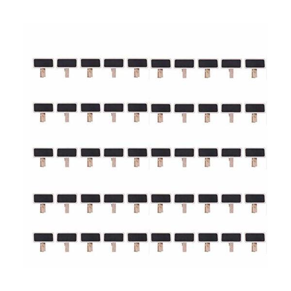 ミニメッセージ黒板 50枚 写真クリップ ミニ黒板カード ブラックボード 黒板 ブラックボード 木製クリップ 木