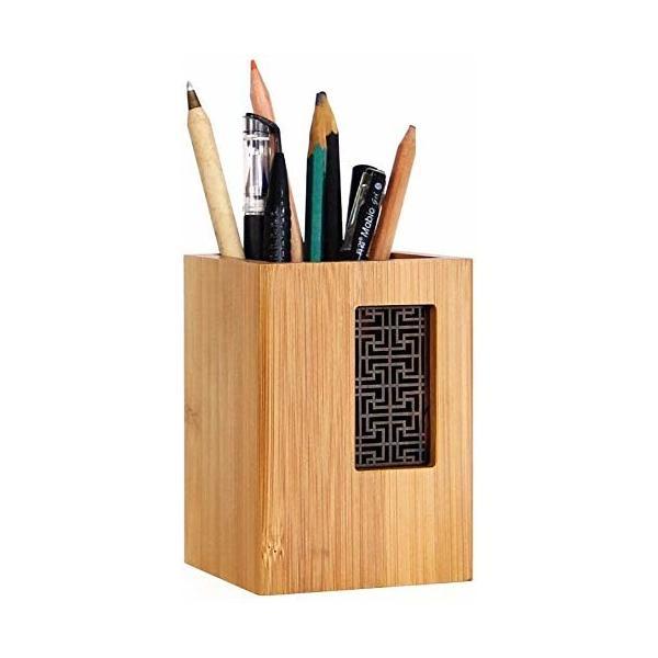 YOSCO 木製 ペン立て ペンスタンド 卓上収納 オフィス収納 シンプル 天然木 木目 デザイン (長方形S)