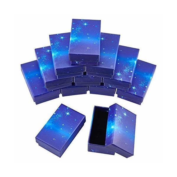 SUPERFINDINGS 16個 ギフトボックス ブルー 星空 ラッピングボックス スポンジ付き 紙ボックス ハトロン紙製 長方