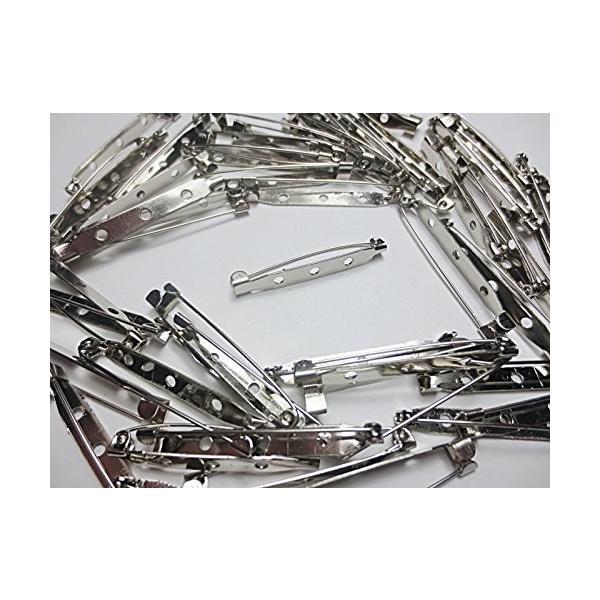 50個 ブローチピン シルバー 45mm 3つ穴 ブローチ金具 基礎金具 手芸材料のヒューイ h688