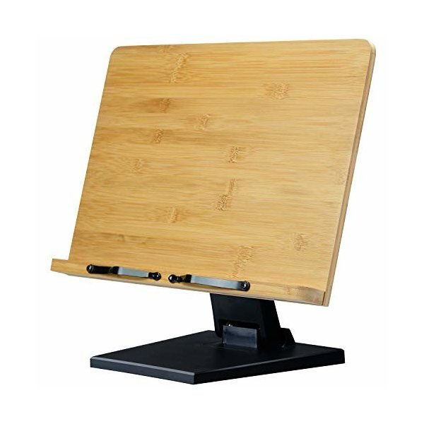 L.Y.F LAB ブックスタンド 書見台 読書台 本立て 木製 竹製 高さ調整可 角度調整可 卓上 勉強 コンパクト (黒, 39.0