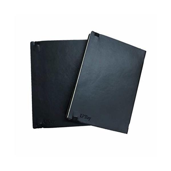 U'Bay ビジネスノート 2冊セット パスポートサイズ 方眼タイプ 合皮カバー クラシックノート 使いやすい 柔ら
