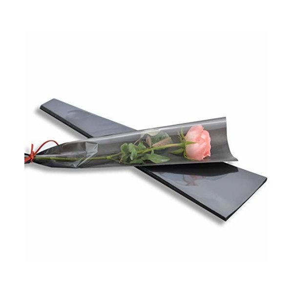 YONIK ラッピングバッグ フラワー 一輪用 ブーケ ラッピング 花 包装紙 50枚 (黒)