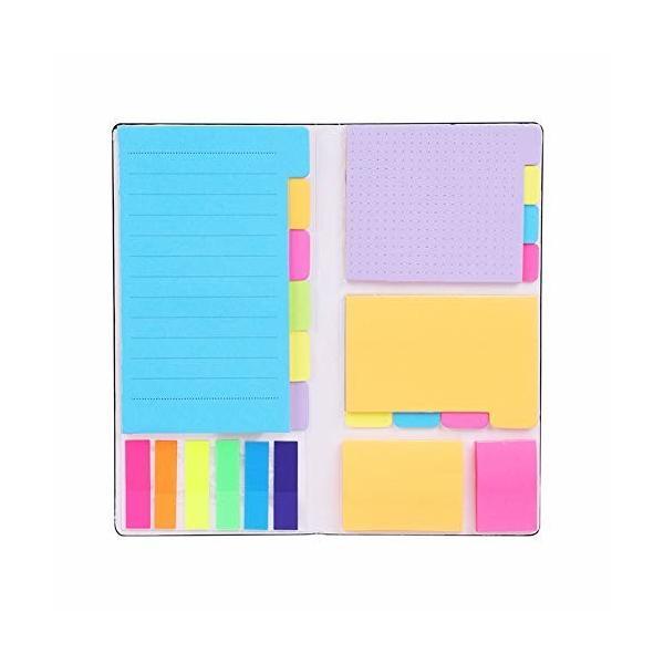 付箋 強粘着 ノート ふせん 卓上メモ 6種類 多色 大容量 付箋セット 伝言メモ 粘着力が良い かわいい おしゃれ