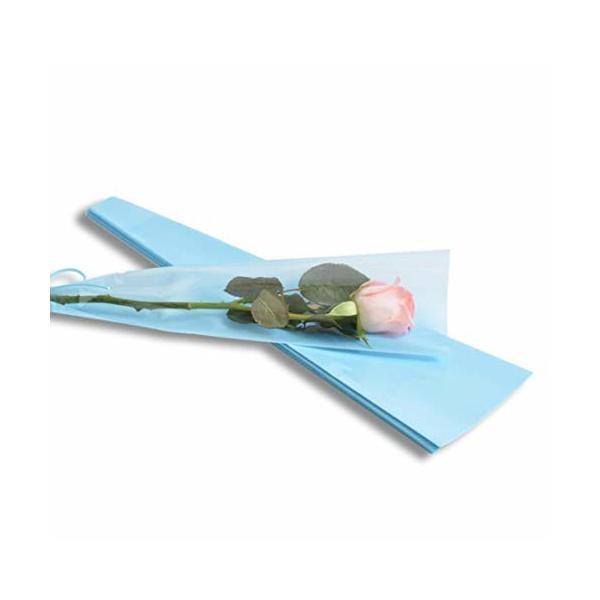 YONIK ラッピングバッグ フラワー 一輪用 ブーケ ラッピング 花 包装紙 50枚 (青)