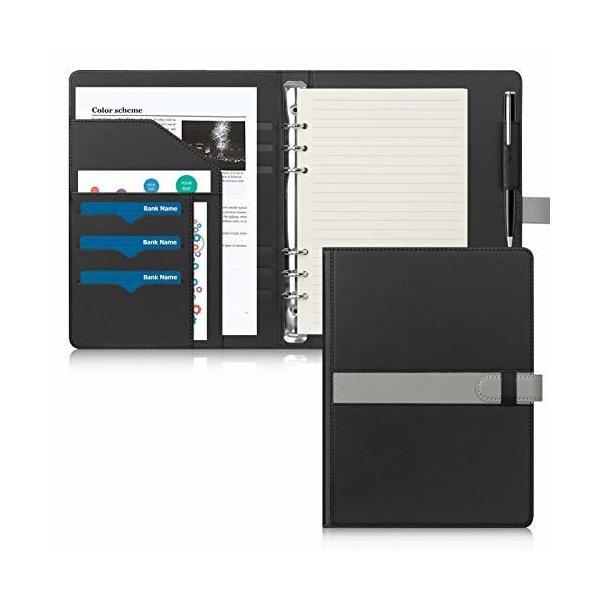 Toplive システム手帳 A5 6穴 多機能 ビジネス手帳 メモ帳 リングノート ルーズリーフ バインダー 上質PUレザー