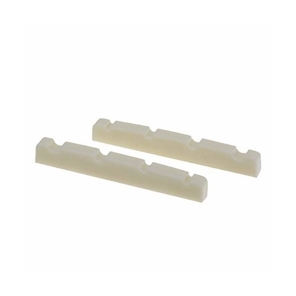 Musiclily Pro尿素樹脂プラスチック製 40mm 弦溝加工済みナット4弦 ジャズベース用フラットボトム、アイボリー(2
