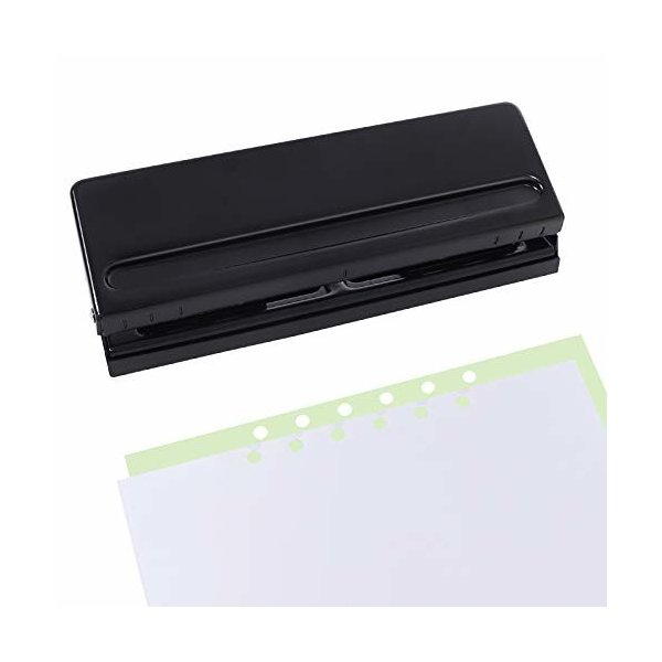 Jimjis 六穴あけパンチ 6穴 用紙サイズガイド ダスターカバー付き バインダー式手帳用 A4/A5/B5 サイズ 調整可能