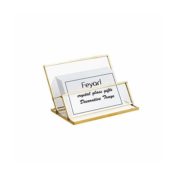 Feyarl 名刺スタンド 名刺立て カード立て ガラス オフィス 真鍮 ゴールド