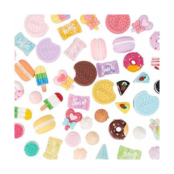 nbeads 1セット デコパーツ 多種ミックス お菓子 デザート ドーナツ ビスケット パン キャンデー 樹脂カボショ
