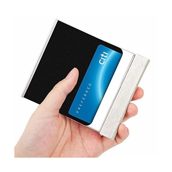 名刺ホルダー(カードケース)-ポケットクレジットカードホルダー、高級PUレザー&ステンレススチール製の