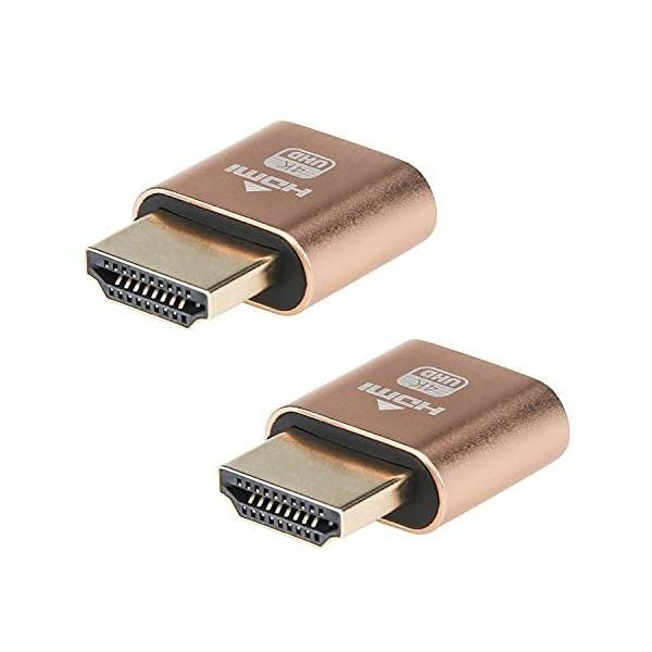 HDMIダミープラグ 2個 HDMI仮想ディスプレイ DDC EDIDエミュレータコネクタ 4K @60Hz高解像度 バーチャルモニターデ