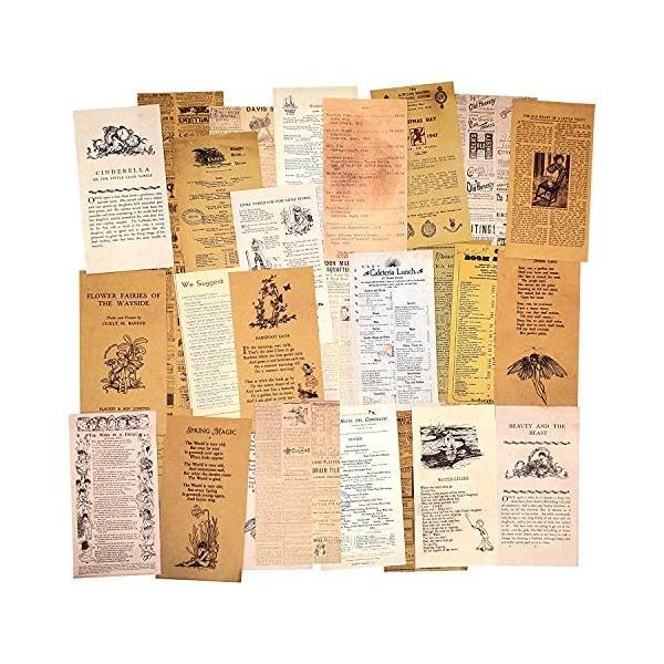 ヴィンテージ柄紙3パックセットスクラップブック紙装飾紙レトロ紙クラフト紙カード作成用片面ペーパークラ