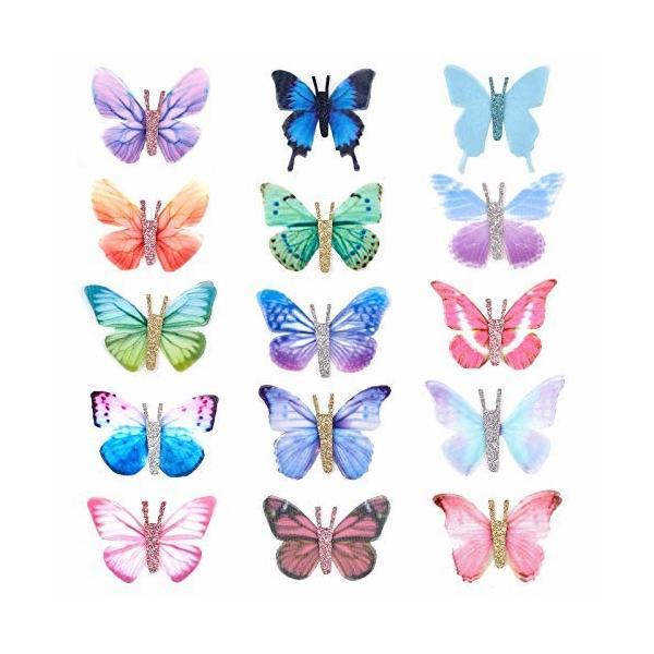 SUPERFINDINGS 30個 蝶 シフォン パーツ 手作り蝶 エアリー 蝶々 カラフル 半透明 小さめ ピアス イヤリング イヤリ
