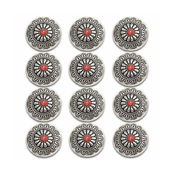 コンチョ ボタン 12個セット ネジ式 30mm ターコイズ デージー柄 レザークラフト 財布 手芸 装飾ボタン (レッド)