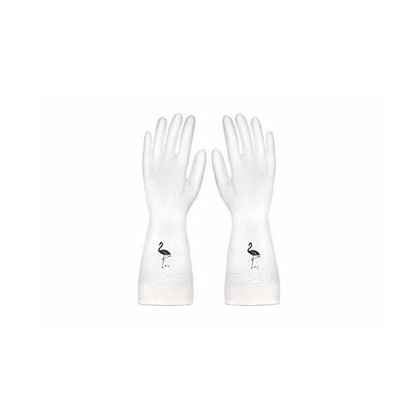 家事用ゴム手袋 白 多用途 6双組 ホームプロダクツ 炊事手袋 クリーニング手袋 キッチンブラシ 中厚手 家庭用