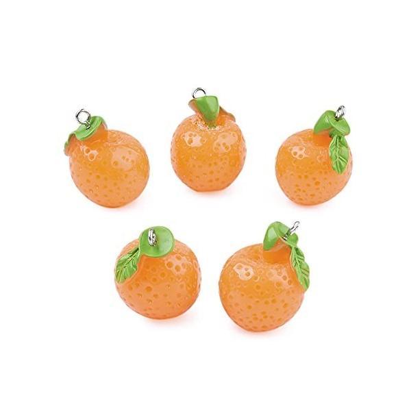 10個 オレンジ みかん 蜜柑 果物チャームシリーズ かわいい 丸ごとミカン フルーツ 果物モチーフ レジンペン