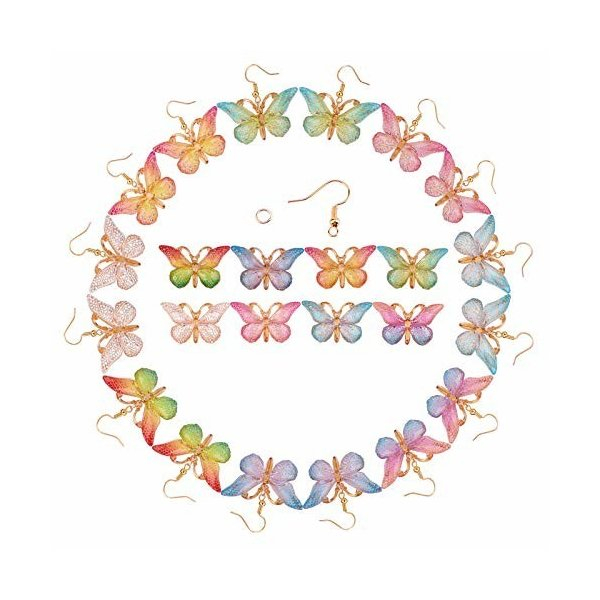 SUNNYCLUE 蝶の舞 8色8対 チャーム 蝶 イヤリング 蝶々 パーツ 樹脂ペンダント ネックレス バタフライ 胡蝶 ピア
