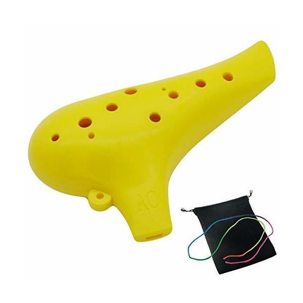 オカリナ 楽器 12穴 アルトプラスチック C調 AC Ocarina 吹奏管 樹脂 (イエロー)